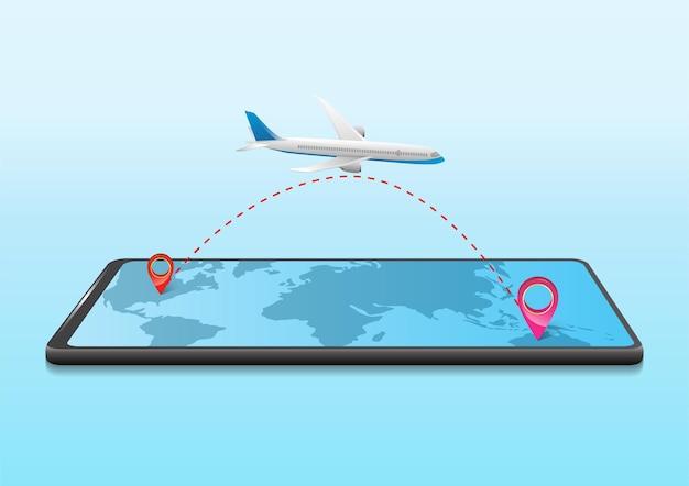 모바일로 비행기 여행을 하는 비즈니스 여행 개념