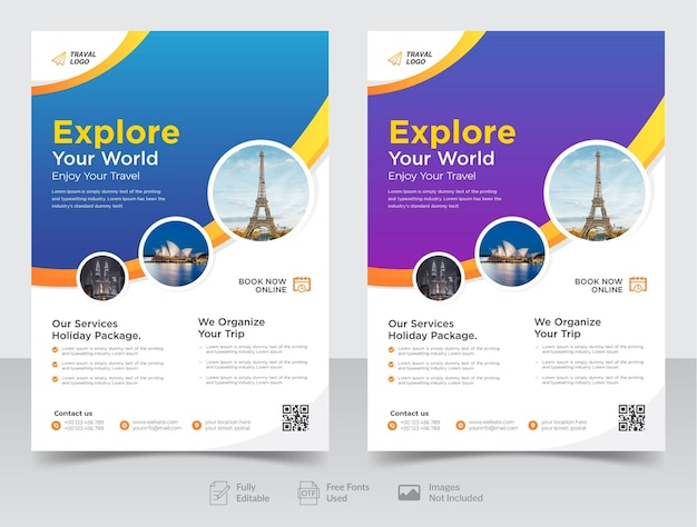 Business travel flyer design and brochure cover page or poster design template premium vector