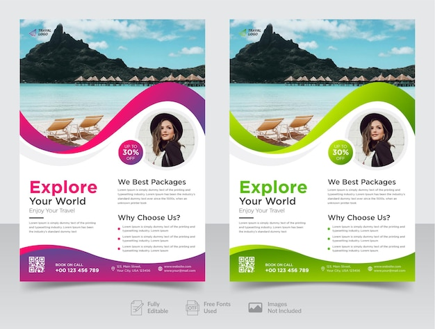 Business travel flyer design and brochure cover page template premium vector