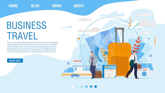 Business travel planning service landing page