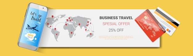 Business travel special offer poster of tourism company template horizontal banner