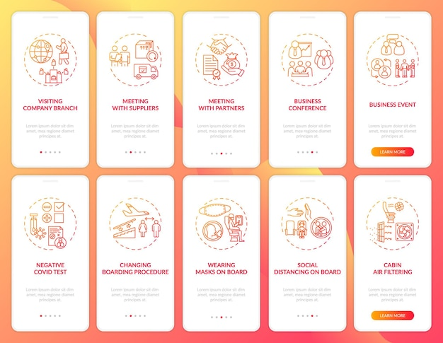 Тенденции деловых поездок на экране страницы мобильного приложения с концепциями
