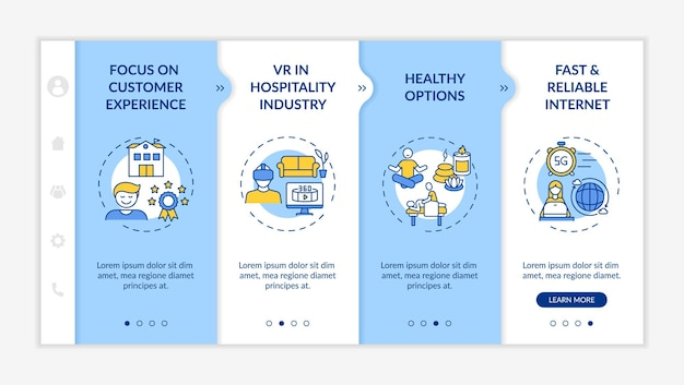 Business travel trends onboarding  template. focus on customer experience. vr in hospitality industry. responsive mobile website with icons. webpage walkthrough step screens. rgb color concept