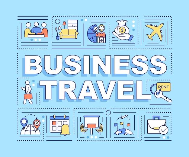 出張ワードコンセプトバナー。ビジネスを行う目的で旅行します。青の背景に線形アイコンとインフォグラフィック。孤立したタイポグラフィ。図