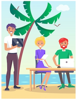 Business traveling illustration with people sitting at the table on the beach with modern computers