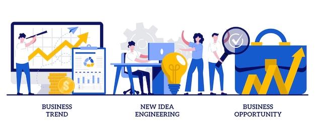 비즈니스 트렌드, 디자인 사고, 작은 사람들과의 비즈니스 기회 개념. 전문 마케팅 연구, 팀 협업, 솔루션 검색 추상적 인 벡터 일러스트 레이 션 세트.