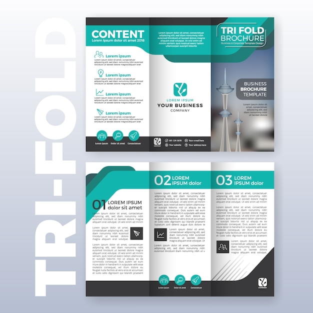 Attractive Business Tri Fold Brochure Template Design With Turquoise Color Scheme In  A4 Size Layout With