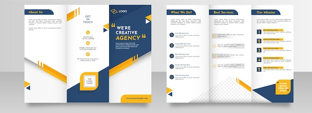 Business tri-fold brochure template layout in front and back view.
