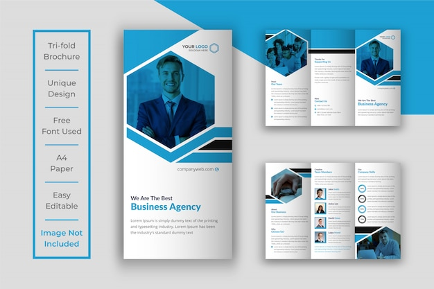 Бизнес три раза шаблон брошюры