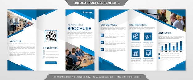 Business trifold brochure template with clean minimalist style
