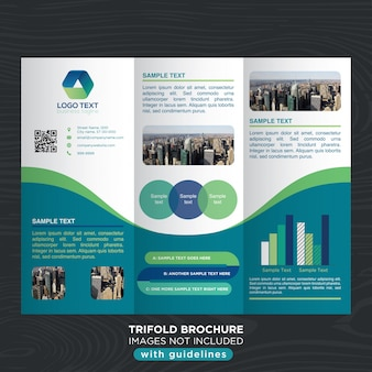Business trifold brochure template with curves design