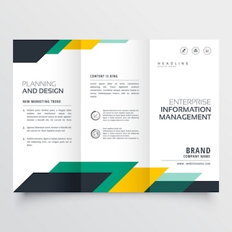 Business trifold brochure with geometric shapes
