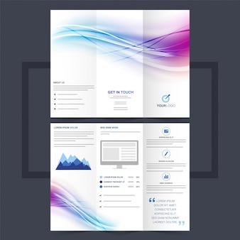 Business trifold leaflet or flyer design with colorful waves.