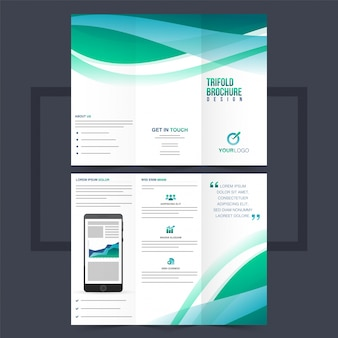 Business trifold leaflet or flyer design with green waves.