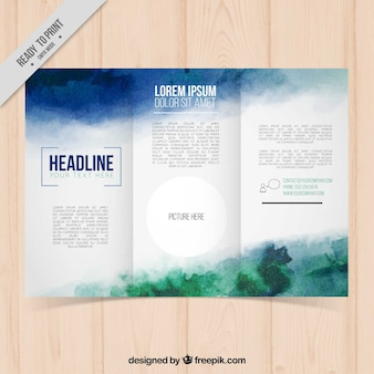 Business trifold template in watercolor style