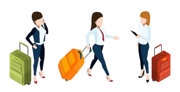 Business trip concept. businesswomen with suitcases.  isometric luggage and girls