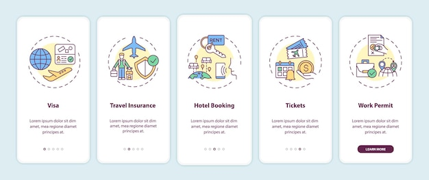 Business trip requirements onboarding mobile app page screens set