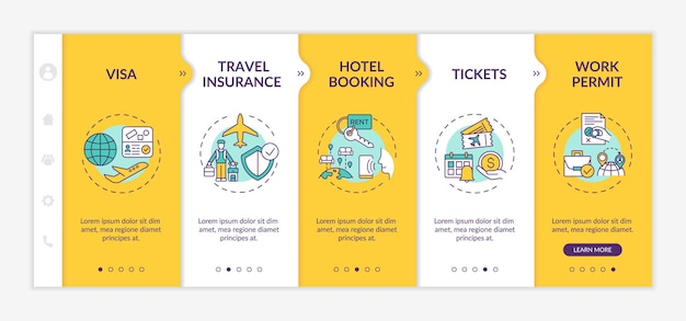 Business trip requirements onboarding  template. travel insurance. hotel booking. tickets. work permit. responsive mobile website with icons. webpage walkthrough step screens. rgb color concept