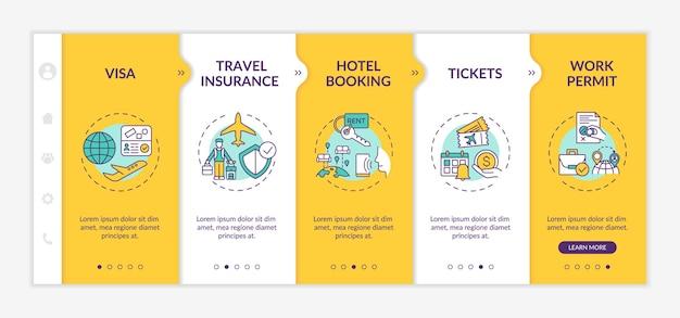 출장 요구 사항 온 보딩 템플릿. 여행 보험. 호텔 예약. 티켓. 취업 허가. 아이콘이있는 반응 형 모바일 웹 사이트. 웹 페이지 안내 단계 화면. rgb 색상 개념