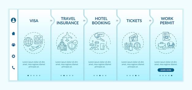 출장 요구 사항 온 보딩 템플릿. 여행 보험. 서비스 적응. 호텔 예약. 아이콘이있는 반응 형 모바일 웹 사이트. 웹 페이지 안내 단계 화면. rgb 색상 개념
