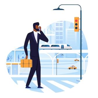 Business trip, tourism flat vector illustration