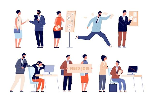 비즈니스 문제입니다. 회사 재정적 실패, 파산 또는 위기. 리더십과 기업, 직원 벡터 일러스트레이션을 위한 사무직 없음. 재정적 어려움, 손실 및 위기 실패