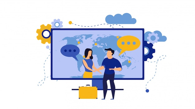 Business trust illustration with man and woman. internet computer partnership businessman