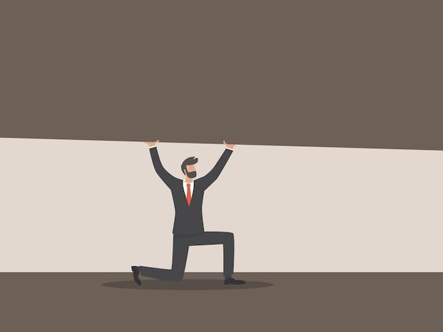 圧力の概念の下でのビジネス、ビジネスマンが押しつぶされている、仕事のストレス。