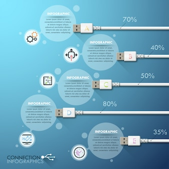 Business usb connection infographics template