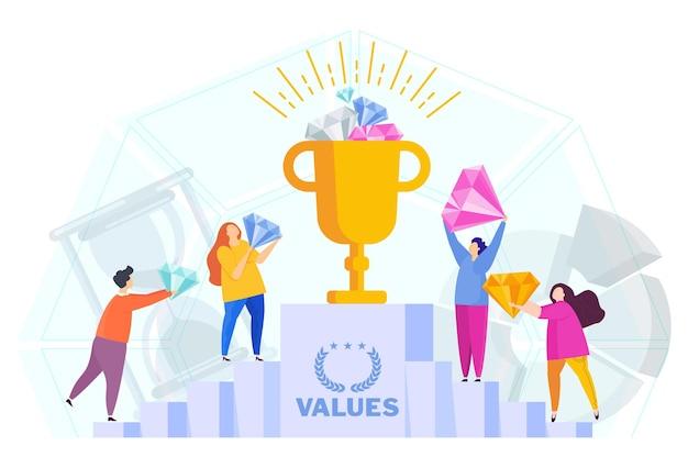 비즈니스 가치 개념입니다. 직원이 공유하는 회사 가치.