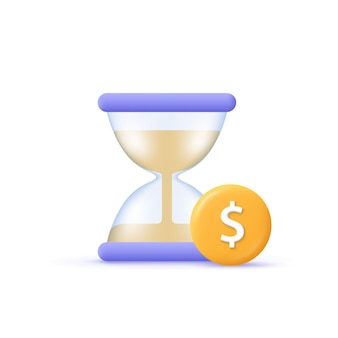 Иконка бизнес вектор. финансовый инвестиционный фонд, увеличение доходов, рост доходов, концепция бюджетного плана. песочные часы и монета со знаком доллара. 3d векторные иллюстрации шаржа.
