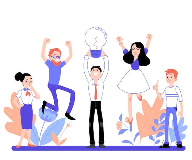 Business vector illustration of brainstorming people in the office, flat cartoon style.