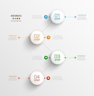 Бизнес вектор инфографики шаблон с 4 шагами