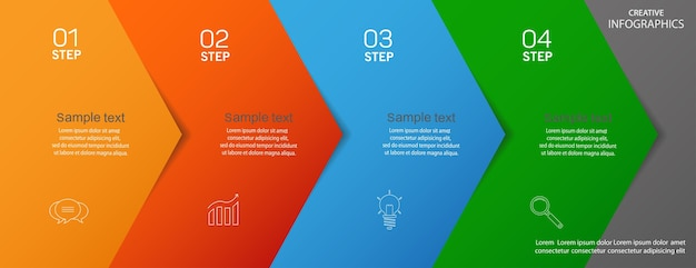 Business vector infographic  template with icons and 4  steps