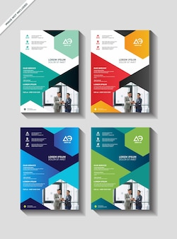 Business vector set brochure template layout cover design annual report flyer in a4