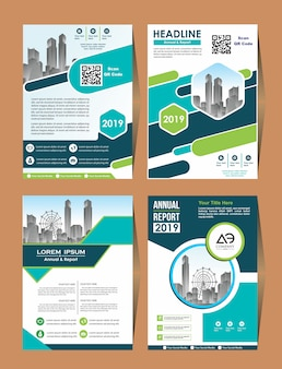 Business vector set cover design flyer in a4