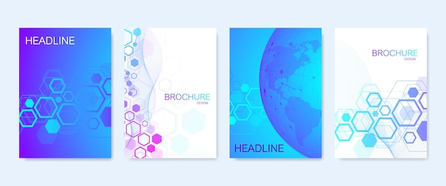 Business vector templates for brochure, cover, banner, flyer, annual report, leaflet. abstract composition with molecule structure, dots, lines. wave flow. science, medicine, technology background.