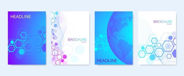 브로셔, 표지, 배너, 전단지, 연례 보고서, 전단지에 대한 비즈니스 벡터 템플릿. 분자 구조, 점, 선이 있는 추상 구성. 웨이브 플로우. 과학, 의학, 기술 배경입니다.