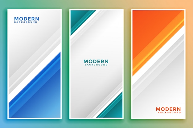 Business vertical banner set in line style