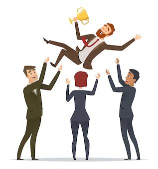 비즈니스 승리. 행복한 팀은 트로피 컵 캐릭터와 함께 그의 멘토 리더 디렉터 팀 빌딩 행복한 우승자를 축하합니다