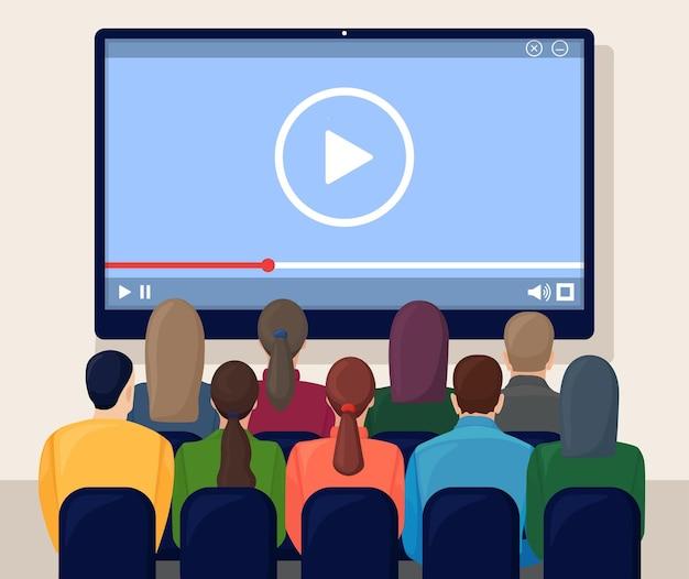 비즈니스 화상 회의. 의자, 대형 디지털 화면이있는 방. 온라인 회의, 웨비나 또는 교육
