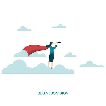 ビジネスビジョンとキャリアコンセプト。望遠鏡を持って飛んでいる雲の上の実業家。女性リーダー、成功、野心、リーダーシップ、未来のシンボル。ベクトルイラストフラット