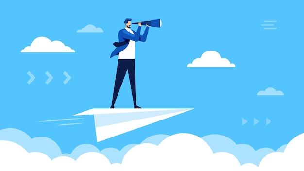 Бизнес-видение бизнесмен, летящий на бумажном самолетике и глядя в телескоп в поисках карьерных возможностей