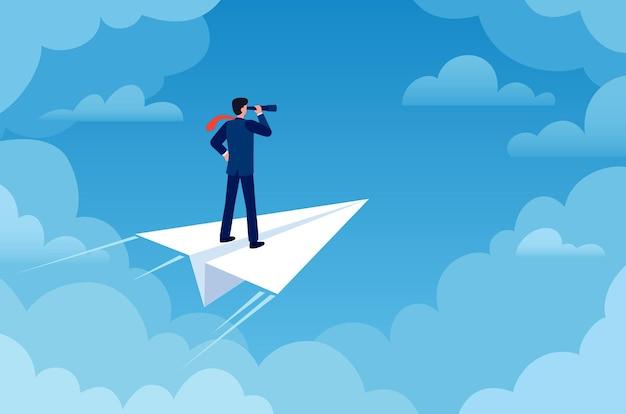 ビジネスビジョン。新しいアイデアを探している望遠鏡で紙飛行機のビジネスマン。将来の戦略、リーダーと成功の仕事、フラットベクトルの概念。ビジネスマンのビジョン、リーダーシップ面の動機の図