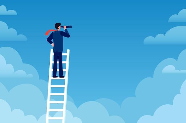 ビジネスビジョン。ビジネスマンは望遠鏡でキャリアのはしごの上に立っています。プロモーション、成功の新しい機会、先見の明のある戦略ベクトルの概念。目的と目標を達成する、空を見ている男