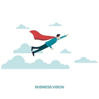 Business vision and career concept. businessman flying on clouds. symbol of man leader. super businessman flying. success, ambition, leadership, future. vector illustration flat