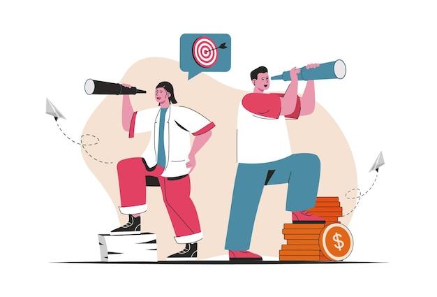 비즈니스 비전 개념이 격리되었습니다. 새로운 기회, 성공적인 전략을 찾으십시오. 평면 만화 디자인의 사람들 장면. 블로깅, 웹 사이트, 모바일 앱, 판촉 자료에 대한 벡터 일러스트 레이 션.