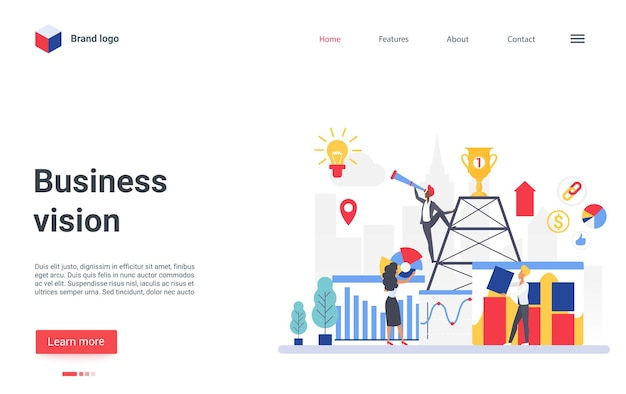 Business vision concept landing page businessman leader holding telescope to look success