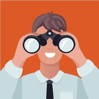 비즈니스 비전 개념. 쌍안경을 통해 보는 남자 및 차트 참조