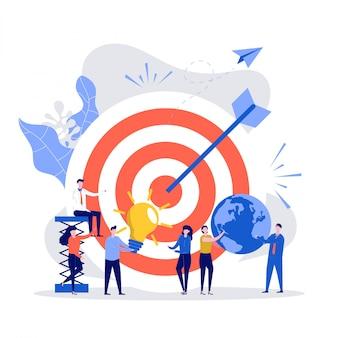 ビジネスビジョンのコンセプトです。人々は大きな目標、チームワーク、モチベーションの上昇、目標の達成、契約チームワークの成功で目標を達成します。